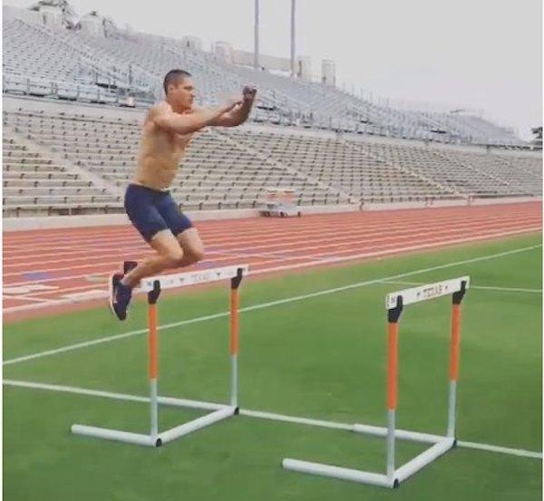 Trey Hardee Hurdle Hops (Plyometric jump exercises)