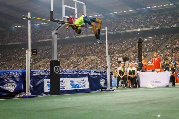 High jump near world record clearance.