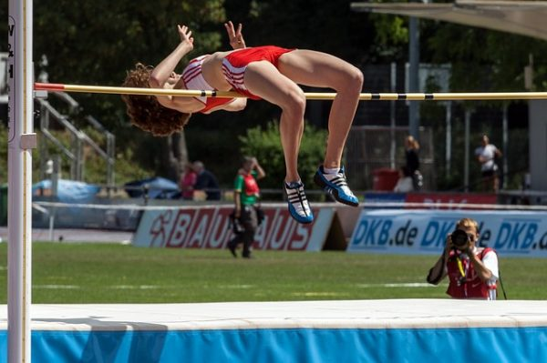 High jump over the bar correctly