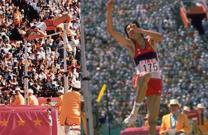 Zhu Jianhua High Jump knee drive